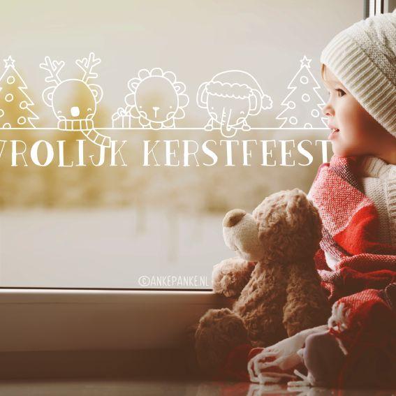 De koala, leeuw en olifant hebben zin in de feestdagen. Jij ook? Deze lieve #raamtekening staat leuk op elk raam!