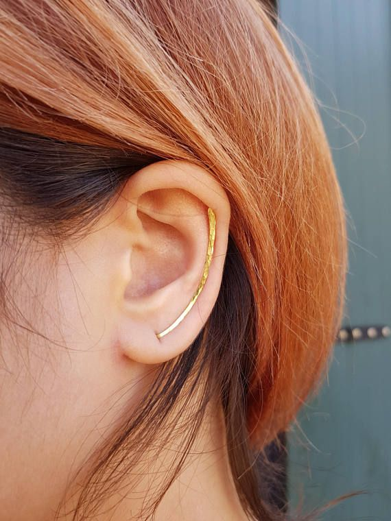 Ear climber triangle gold plated for minimalist women Gold plated silver ear crawlers for her