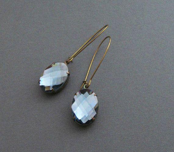 Blue Gray Rhinestone Earrings Grey Earrings Vintage Rhinestone Earrings Bridal Earrings Drop Earrings Winter - Frozen Love on Etsy, $22.00