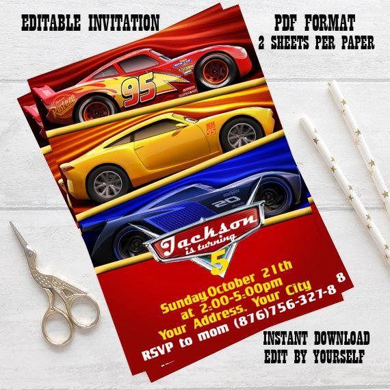 Instant Download-Disney Cars Invitation Disney Cars Birthday