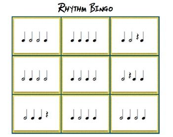 This Bingo game has 4 notes of varying values. Quarter notes, half notes, and quarter rests are used in this game. This game is perfect for helping your students develop steady tempo and rhythm, and helps with ear training, sight reading, and seeing what you hear.