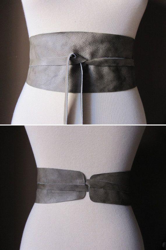 Sage  Leather Obi Belt by TheButterfliesShop on Etsy, $39.50