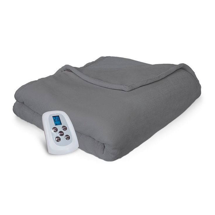 Serta Warming Comfort Plush Electric Heated Blanket, Grey
