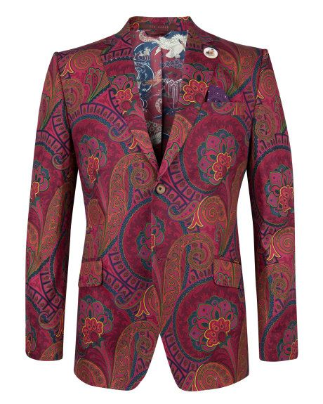 Cotton blazer - Red   Global Collection   Ted Baker UK More paisley really, but it has a floral feel.