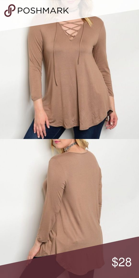 • NEW •  MOCHA LACED TOP • This 3/4 length sleeve top is PERFECT for Spring! It's longer in length so can be worn comfortably with leggings. Lightweight and great for layering. Made in USA. 95% Rayon 5% Spandex Evette Encounters Tops