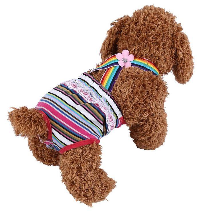 Lovely Stripe Pet Dog Physiological Pants Cotton Female Dog Briefs Strap Sanitary Dog Underwear