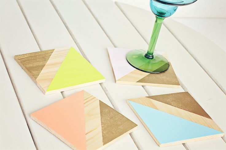 DIY Coasters from HOMETART... I love the geometric shapes and all these soft colors! LOVE!!!