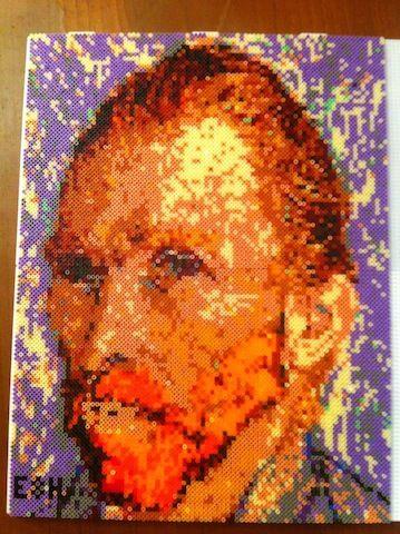 Vincent Van Gogh portrait hama mini beads by eshelman