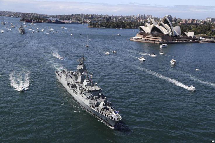 Australian Navy Celebrates 100th Anniversary.Australian ANZAC class HMAS Perth (III) sails past the Opera House as she arrives in Sydney, Australia, Friday, Oct. 4, 2013, ahead of the international fleet review.