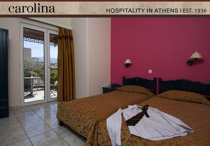 Roof Garden Twin Room at Carolina Hotel Athens Greece