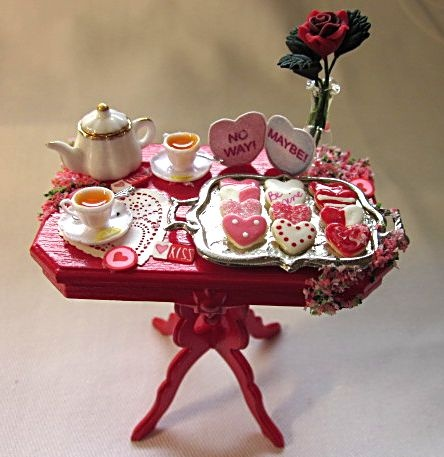Dollhouse miniature decorated table. Valentine's Day celebration with flowers and sweets for mini friends! Enjoy!