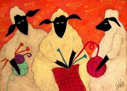Folk Art Knitting Sheep Needlepoint Canvas