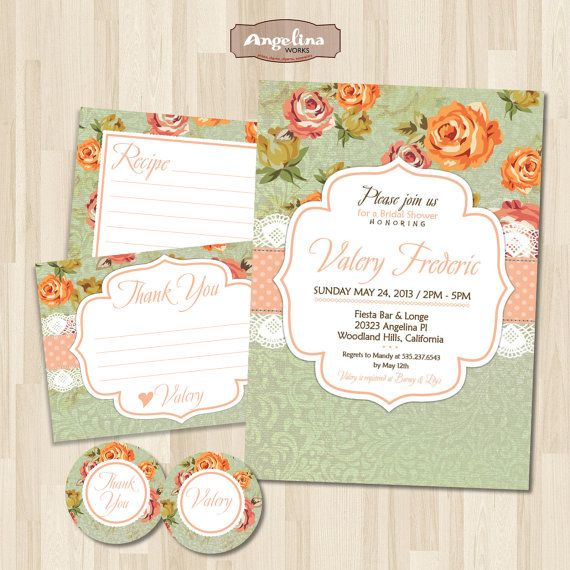 Shabby chic Bridal Shower Invitation. DIY card. by AngelinaWorks, $19.90