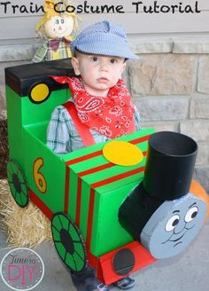 """My son is obsessed with trains. I'm not proud of this, but the first thing he says when he wakes up is """"watch Thomas."""" And I hear that about 20 50 times a day, in between reading """"Blue Train, Green Train."""" There was no question he would be a train for Halloween, although it was...Read More …"""