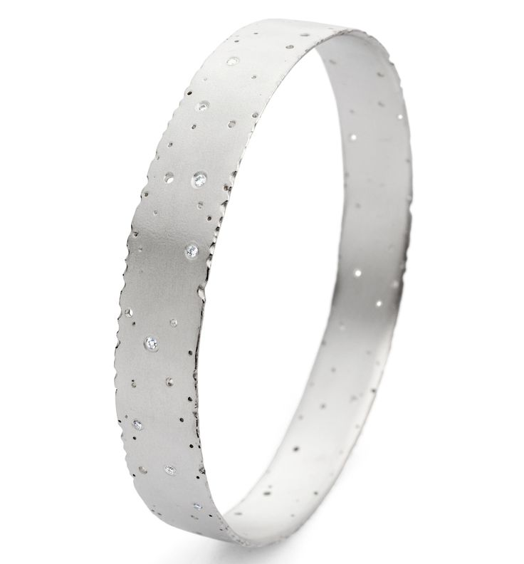 Silver and diamond bangle | Contemporary Bangles by contemporary jewellery designer Kate Smith