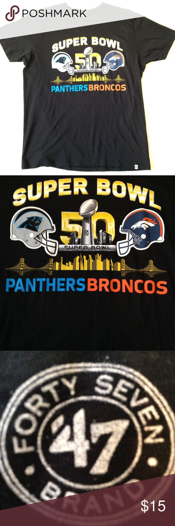 "'47 brand ""SUPER BOWL 50"" panthers vs broncos tee Black '47 brand ""Super Bowl 50"" broncos vs panthers tee, size M, 100% cotton 47 brand Shirts Tees - Short Sleeve"
