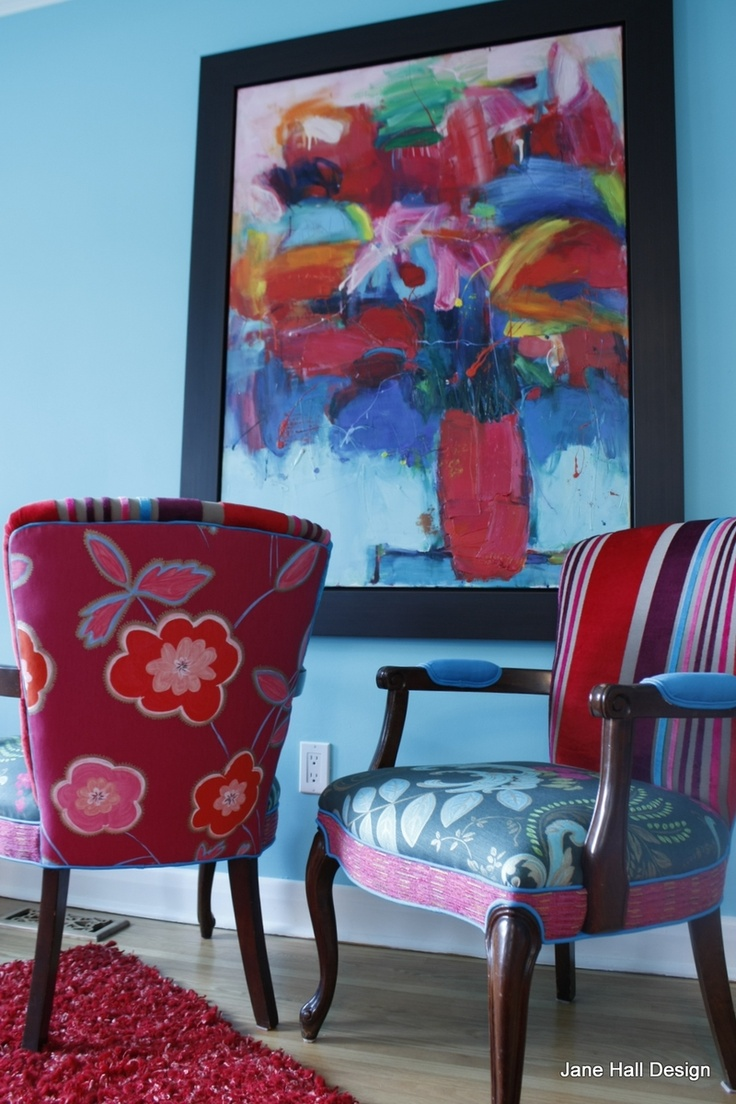 Re Purposed Chair Vintage Chair and Settee in Tricia Guild Cut Velvet and Prints