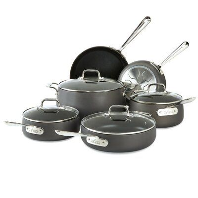 All Clad All Clad Ha1 10 Piece Hard Anodized Aluminum Non Stick Cookware Set Perigold In 2020 Hard Anodized Cookware Cookware Set Nonstick Cookware