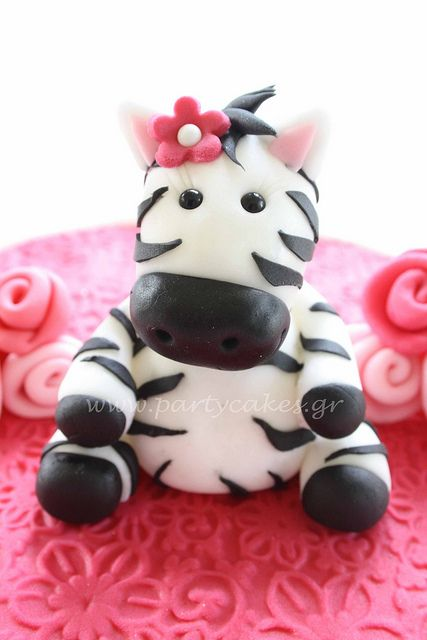 A cute zebra for my daughter's 8th birthday :) by Party Cakes By Samantha, via Flickr