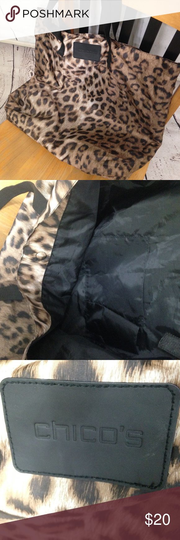 "🆕 Listing! Chicos Animal Print Tote Bag Lightweight animal print tote from Chicos. Lined in black. Measures 18x21 with 22"" double strap handles. Excellent condition. Chico's Bags Totes"