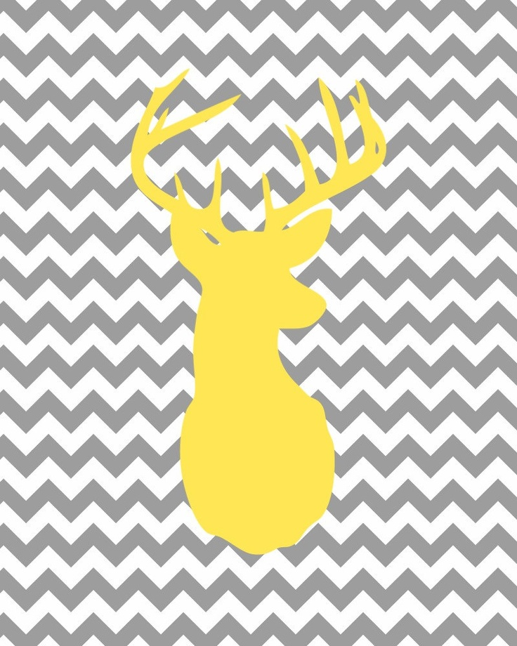 Yellow Deer Head Gray Chevron Print-8x10- Nursery, Minimalist, Decor, Baby, Shower, Boy, Girl, Wall, Art, Digital, Animal, Zoo, Gift