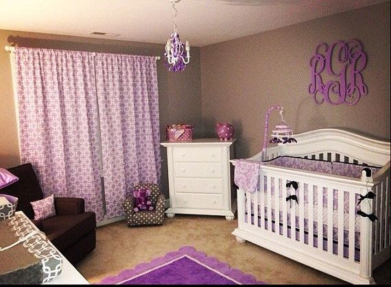 Baby Crib Bedding Cot Set Crib set  Purple by BeautifulBebeDesigns
