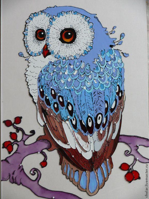 Купить Сова. Картина на стекле. Витражная роспись - сова, Витражная роспись, картина на стекле