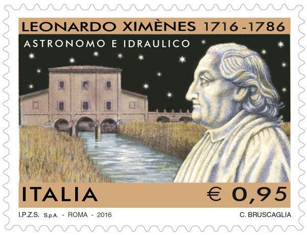 Francobollo commemorativo di Leonardo Ximènes, nel terzo centenario della nascita