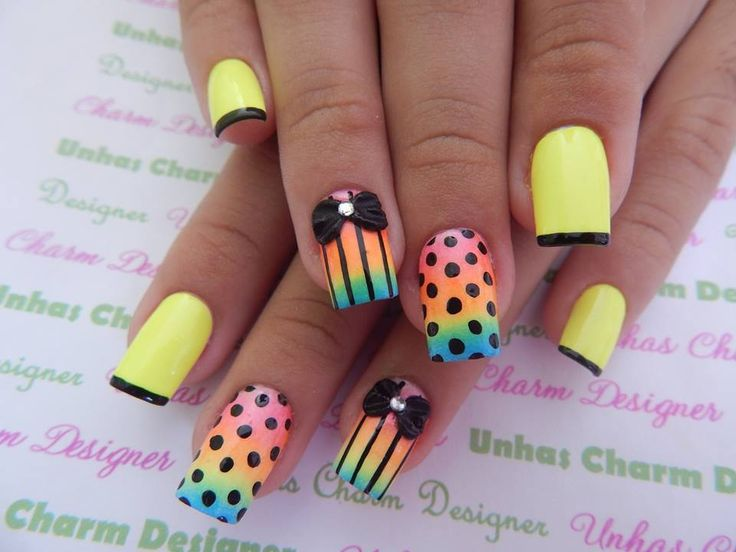 Dotted Nail Art Design - Rainbow and Bright Yellow
