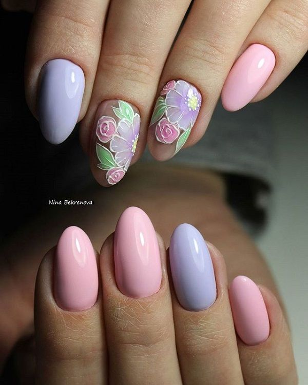 The Elegant Negative Space Nail Art Design. The negative space nail art design with pastel colors and floral make perfect thing for your summer.