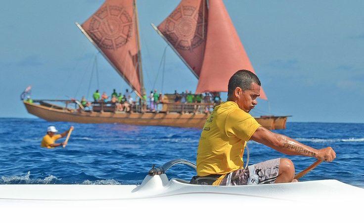 Outrigger canoe race. Vaka Eiva, Rarotonga. Cook Islands