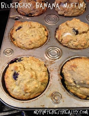 ... SO good and the house smells amazing! Healthy Banana Blueberry Muffins