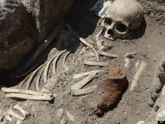 Medieval 'vampire' skeleton with an iron rod through its chest in Bulgaria.
