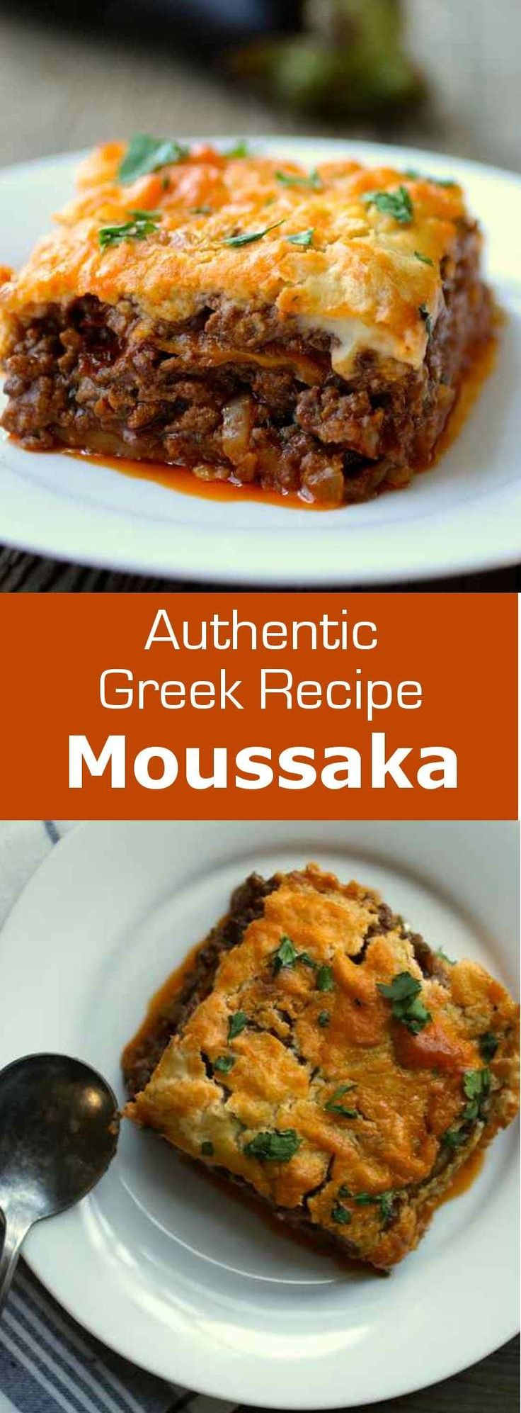 Moussaka is the iconic hearty Greek dish composed of layers of eggplants, saucy ground meat and topped with Béchamel sauce. #greek #196flavors