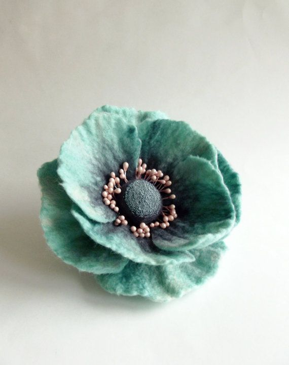 "Felted Flower Brooch, Hair Clip, Wool Felt Jewelry, Mint, Grey and Pink Poppy""A little bit different poppy"""