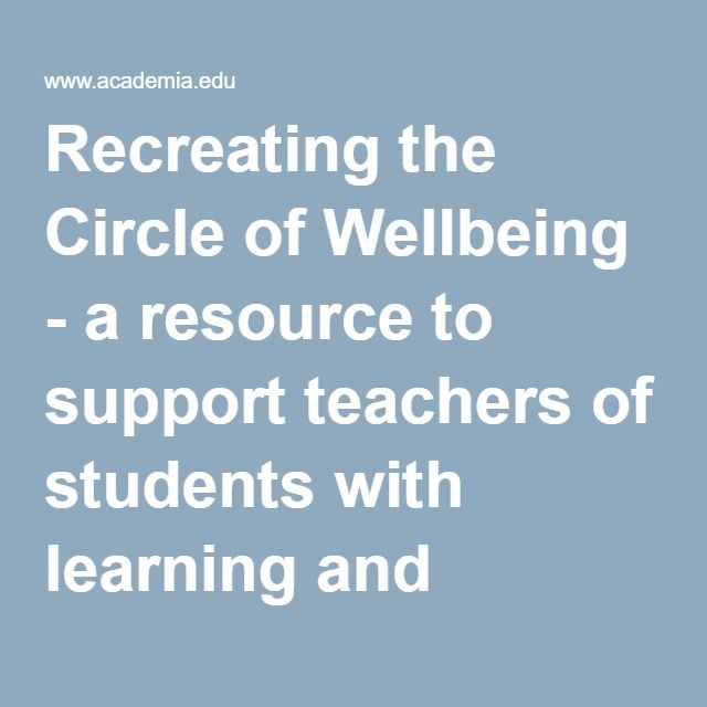 Recreating the Circle of Wellbeing - a resource to support teachers of students with learning and emotional difficulties | I came across this resource in the glossary and it reminded me of a conversation I had with a mother about this.  I had not heard of it again till now and look forward to exploring it further.