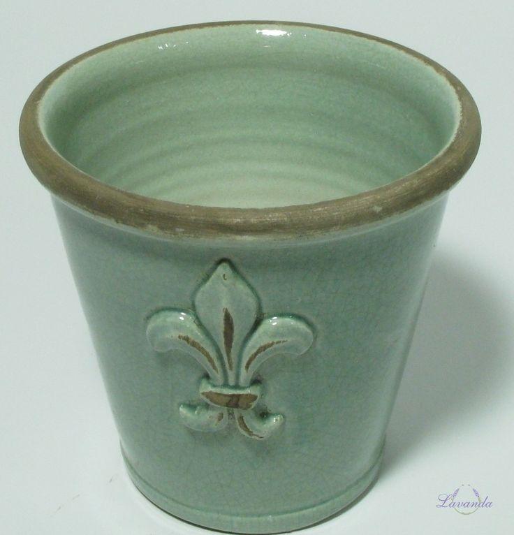 Keramický kvetináč Ľalia, zelený