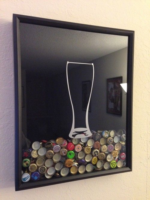 Beer Cap Collector Shadow Box - I see this with a slot in the side to continue adding caps.