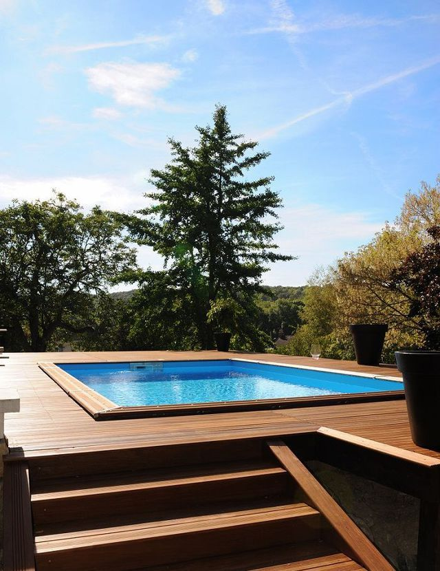 25 great ideas about piscine en bois rectangulaire on for Piscine semi enterree rectangulaire