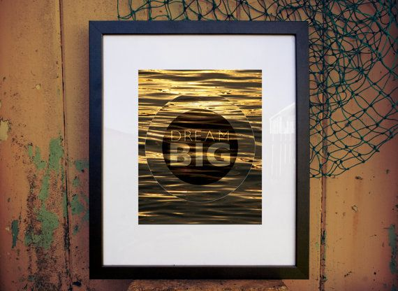 Dream big  gold sunrise printable download art by theshedlight