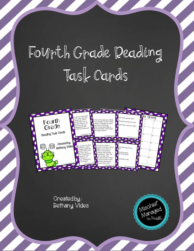 Reading task cards that cover the fourth grade reading standards