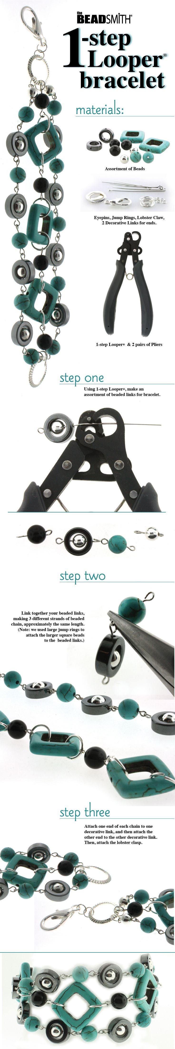 DIY One Step Looper Turquoise Bracelet Jewelry