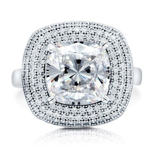 Cushion Cut Cubic Zirconia Sterling Silver Halo Cocktail Ring 3.87 ct from Berricle - Price: $94.99