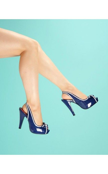 I need more slingbacks in my life  Bettie Slingback Heel in Navy Patent - Shoes | Pinup Girl Clothing