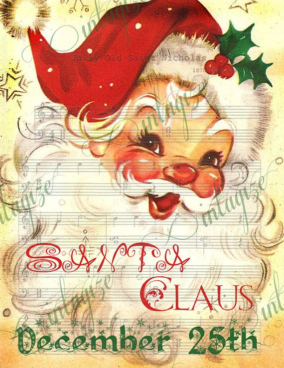 Jolly St Nick Vintage Santa Claus Christmas Printable -INSTANT DIGITAL DOWNLOAD Image for print,  cards, scrapbooks, etc.