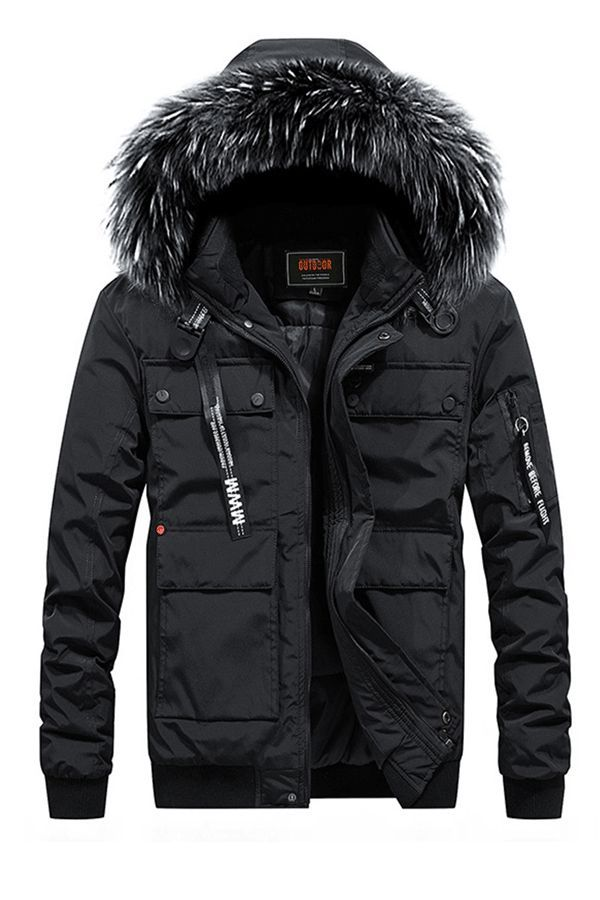 New Mens Quilted Fashion Jacket Fur Hood Winter Padded Pockets Military Coat Top