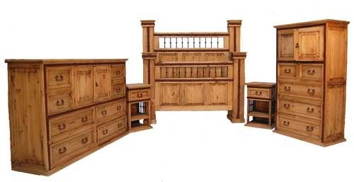 4 PC Rustic Natural Wax & Iron Hierro Queen Size Bedroom Set