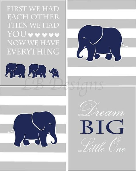 Elephant Nursery Prints Boy Elephant Nursery Decor Jungle