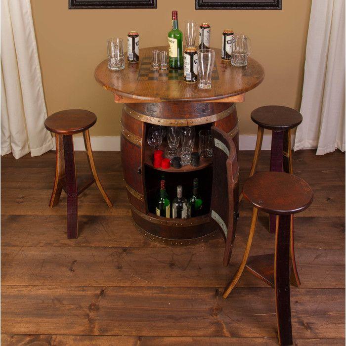 Napa East Collection Whiskey Barrel 5 Piece Pub Table Set | Wayfair