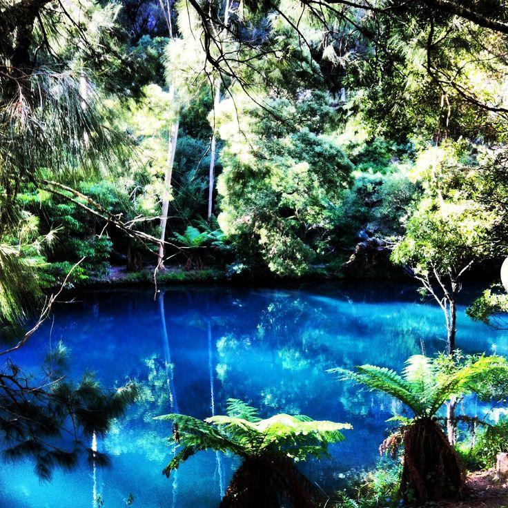 The blue lake at Jenolan Caves Australia
